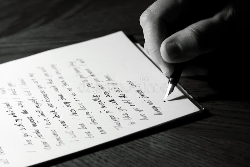 Inscription d'une lettre d'amour images libres de droits