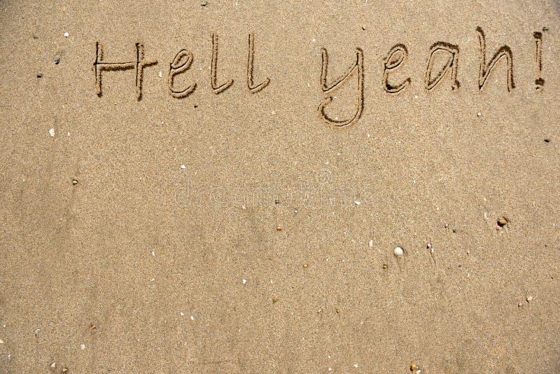 Inscription dans le sable photos libres de droits