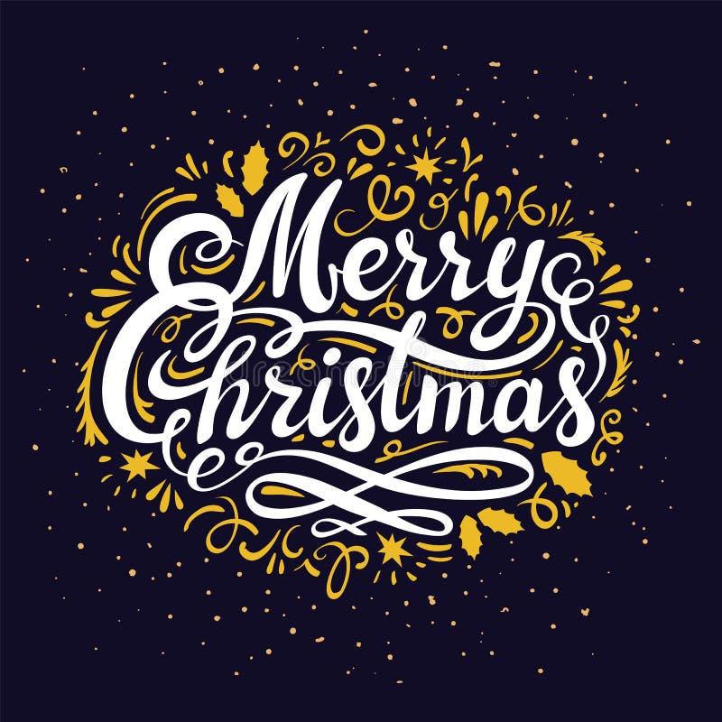 Inscription de carte de voeux de réveillon de Noël Illustration avec l'inscription de Joyeux Noël, le lettrage de main et la déco illustration libre de droits