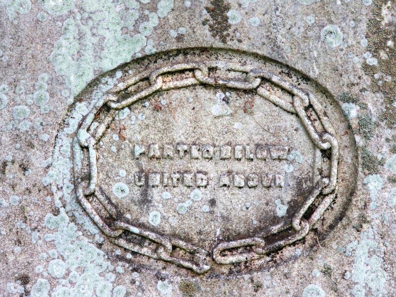 Inscription de cercle d'inscription de pierre tombale de vintage photographie stock libre de droits