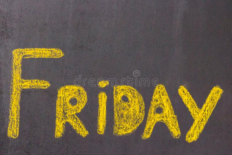 Inscription de craie - vendredi image stock