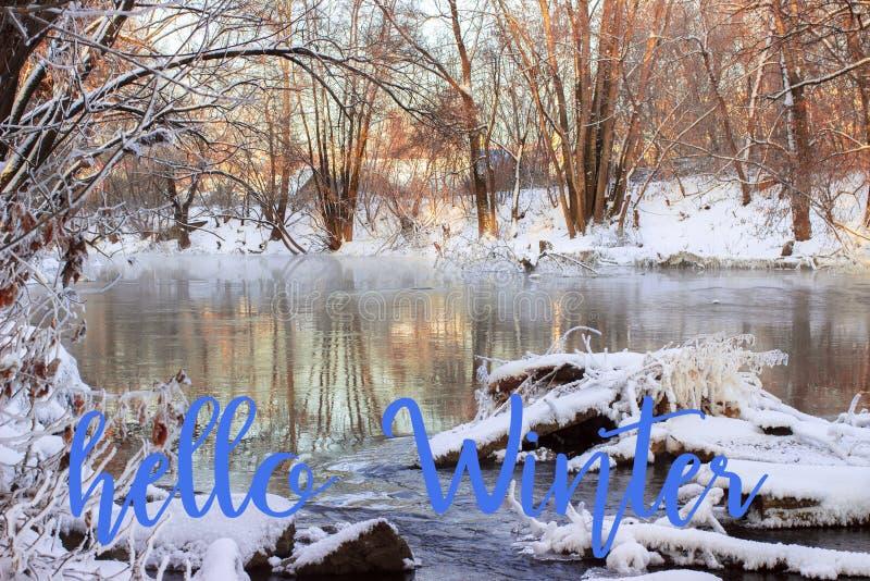 Inscription de dessin d'hiver de bonjour de main Composition en hiver photographie stock libre de droits