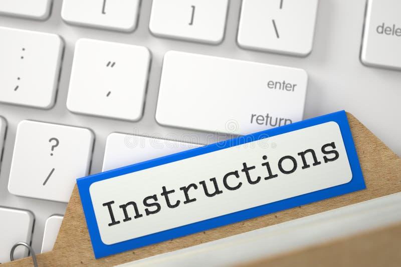Inscription de dossier aux instructions d'inscription 3d illustration stock
