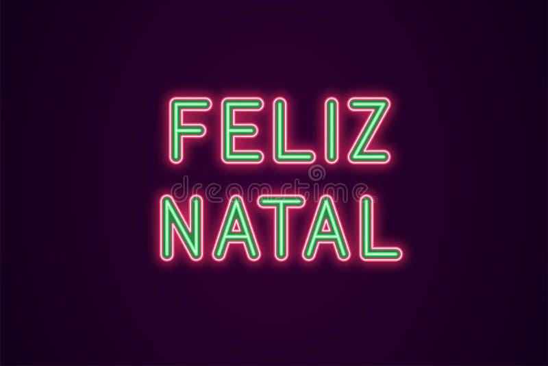 Inscription de fête au néon pour Noël portugais illustration stock