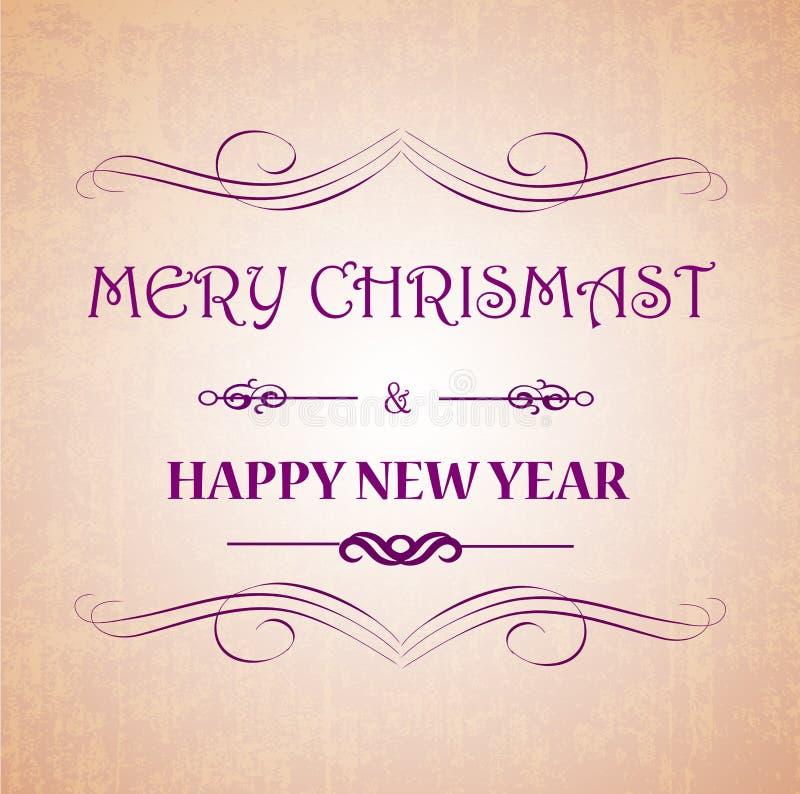 Inscription de fête de carte de voeux de Joyeux Noël et de bonne année avec les éléments ornementaux sur le fond de vintage de bo illustration stock