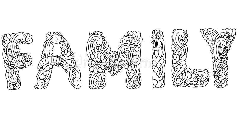 Inscription de famille d'illustration de vecteur colorant antistress illustration stock