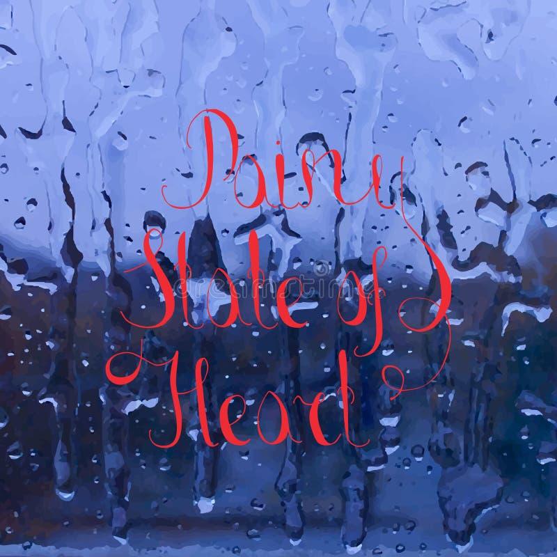 Inscription de l'état pluvieux de coeur sur le verre de fenêtre illustration stock