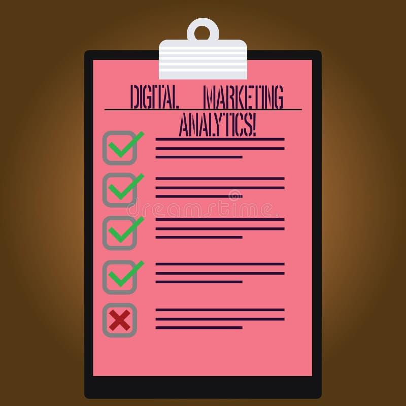 Inscription de l'apparence Digital de note lançant l'Analytics sur le marché La métrique de présentation d'affaires de mesure de  illustration de vecteur