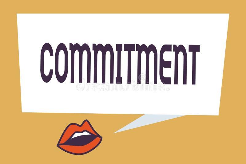 Inscription de l'engagement d'apparence de note Qualité de présentation de photo d'affaires d'être consacré causer l'engagement d illustration libre de droits