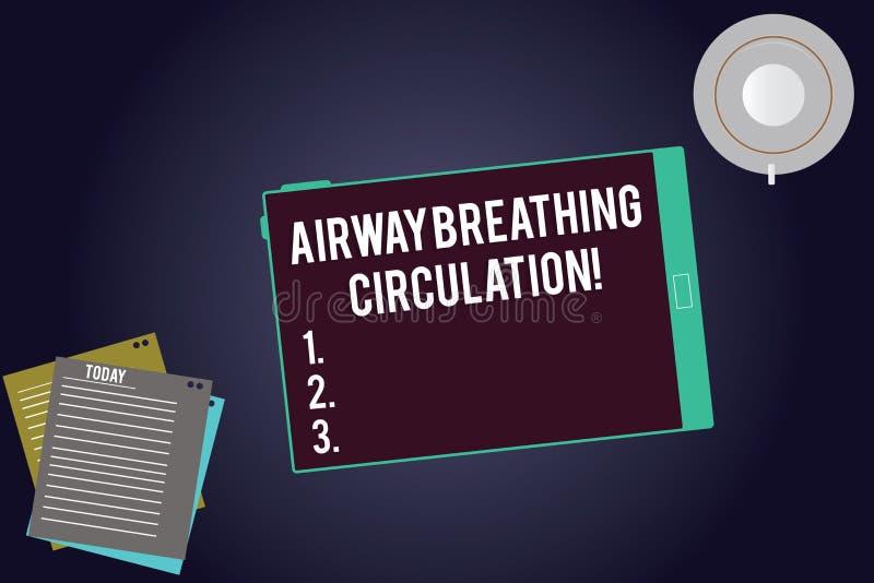 Inscription de la circulation de respiration de voie aérienne d'apparence de note Aide de présentation de mémoire de photo d'affa illustration libre de droits