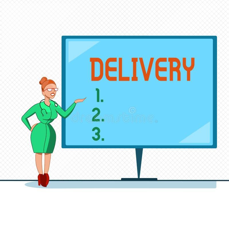 Inscription de la livraison d'apparence de note Action de présentation de photo d'affaires de livrer des colis ou des marchandise illustration libre de droits