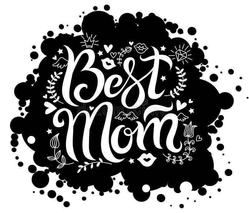 Inscription de la meilleure maman sur la tache noire de fond illustration de vecteur