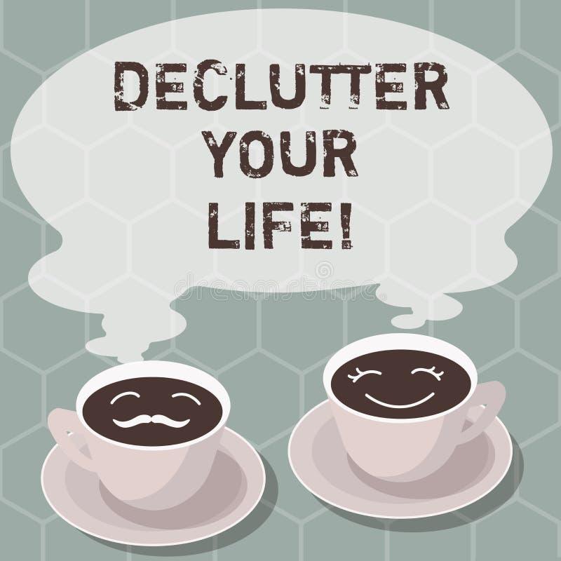 Inscription de la note montrant à Declutter votre vie Photo d'affaires présentant pour enlever les articles inutiles de désordonn illustration libre de droits