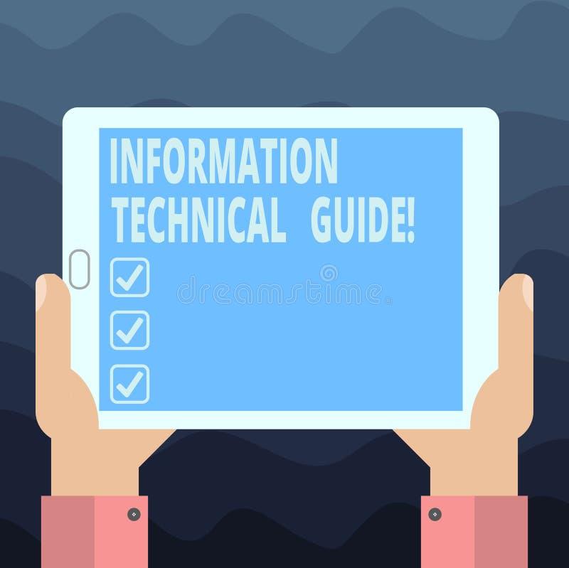 Inscription de la note montrant à l'information le guide technique Document de présentation de photo d'affaires contenant des ins illustration libre de droits
