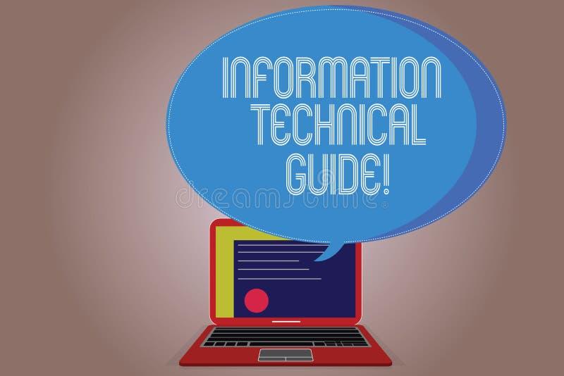 Inscription de la note montrant à l'information le guide technique Document de présentation de photo d'affaires contenant des ins illustration de vecteur
