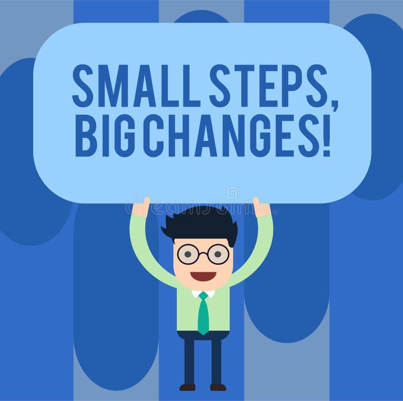 Inscription de la note montrant à petites étapes de grands changements La présentation de photo d'affaires font de petites choses illustration de vecteur