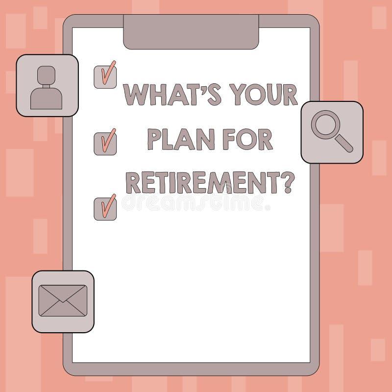 Inscription de la note montrant à quel S votre plan pour Retirementquestion La présentation de photo d'affaires a pensé tous les  illustration de vecteur