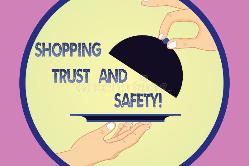 Inscription de la note montrant la confiance et la sécurité de achat Sécurité de présentation de photo d'affaires sur des paiemen illustration libre de droits