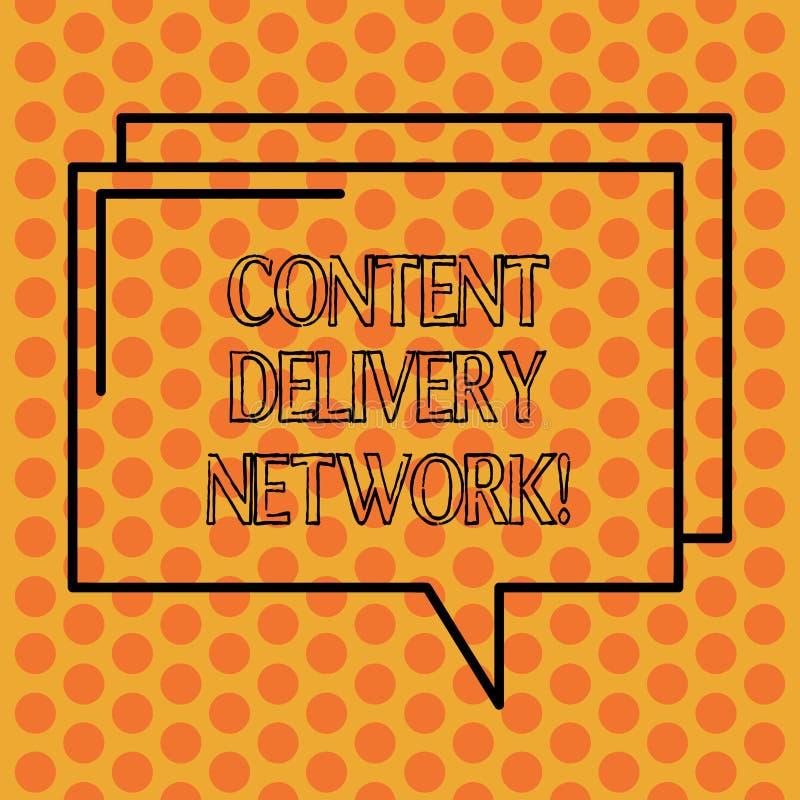 Inscription de la note montrant Content Delivery Network La photo d'affaires présentant géographiquement a dispersé le réseau des illustration stock