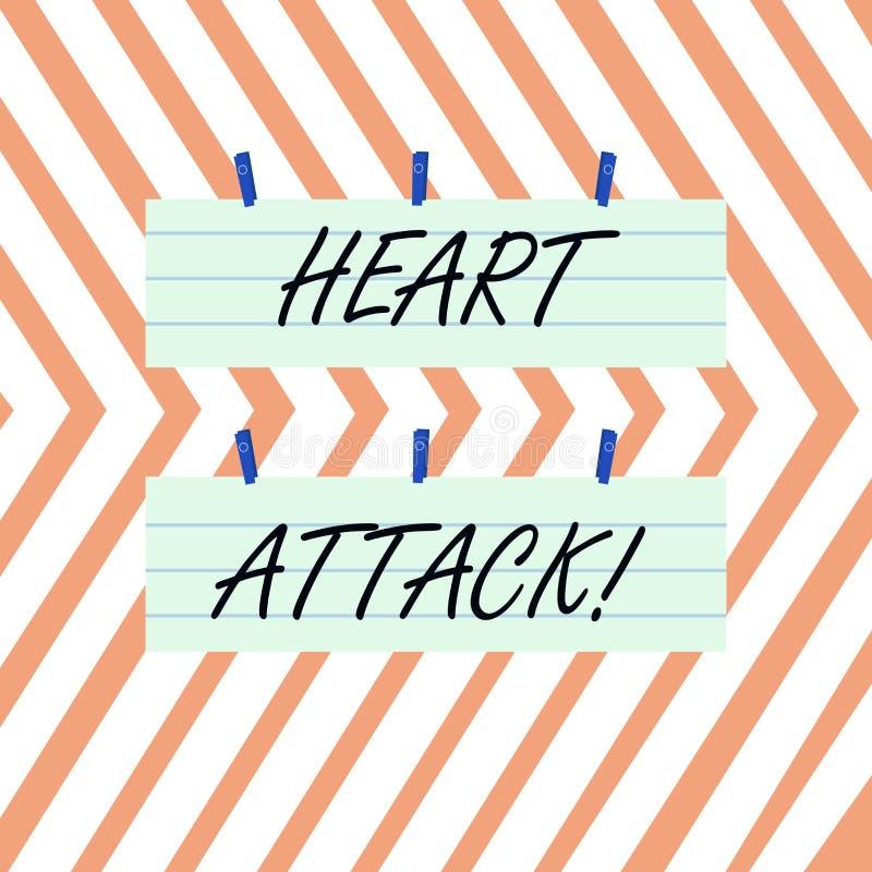 Inscription de la note montrant la crise cardiaque Photo d'affaires pr?sentant l'occurrence soudaine de l'infarctus du myocarde a illustration stock