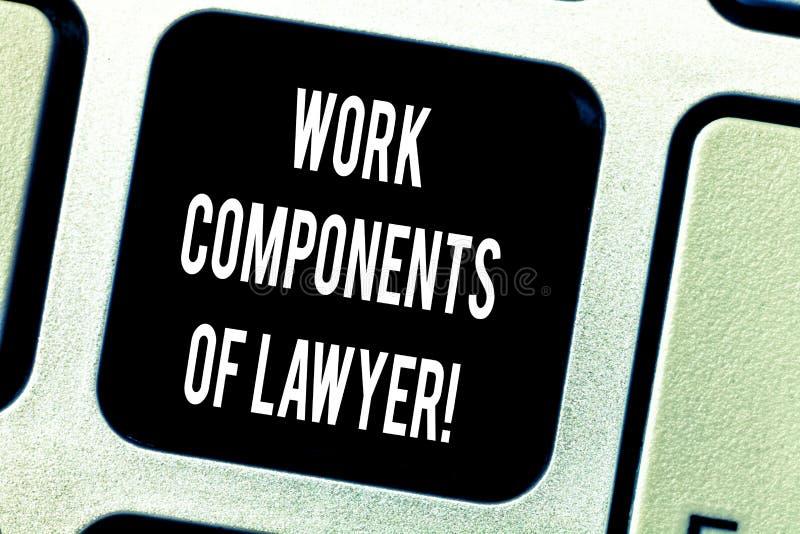 Inscription de la note montrant des composants de travail d'avocat E photographie stock libre de droits