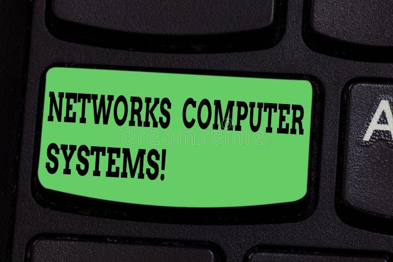 Inscription de la note montrant des systèmes informatiques de réseaux Les dispositifs de présentation de photo d'affaires lient e photo stock
