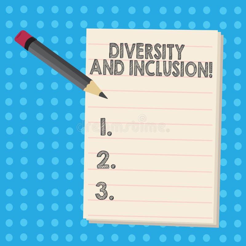 Inscription de la note montrant la diversité et l'inclusion La différence de présentation de huanalysis de gamme de photo d'affai illustration libre de droits