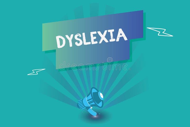 Inscription de la note montrant la dyslexie Désordres de présentation de photo d'affaires qui impliquent la difficulté dans l'étu illustration de vecteur