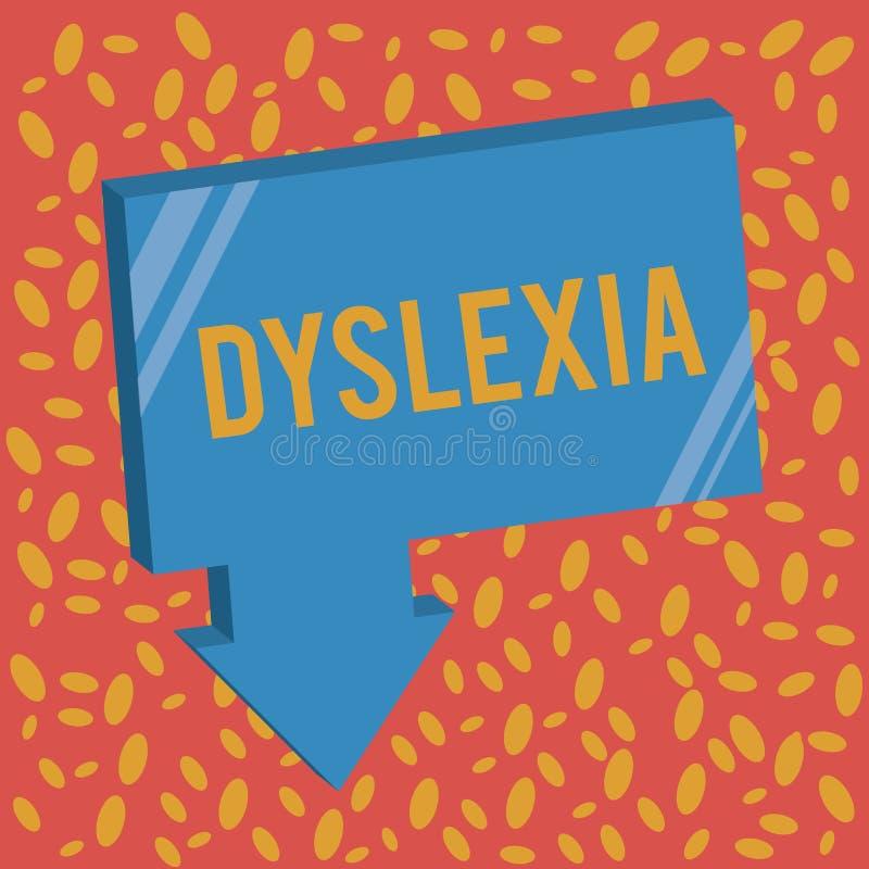 Inscription de la note montrant la dyslexie Désordres de présentation de photo d'affaires qui impliquent la difficulté dans l'étu illustration stock