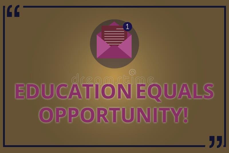 Inscription de la note montrant l'égalité des chances d'éducation Photo d'affaires présentant les droites semblables d'acquérir d illustration de vecteur