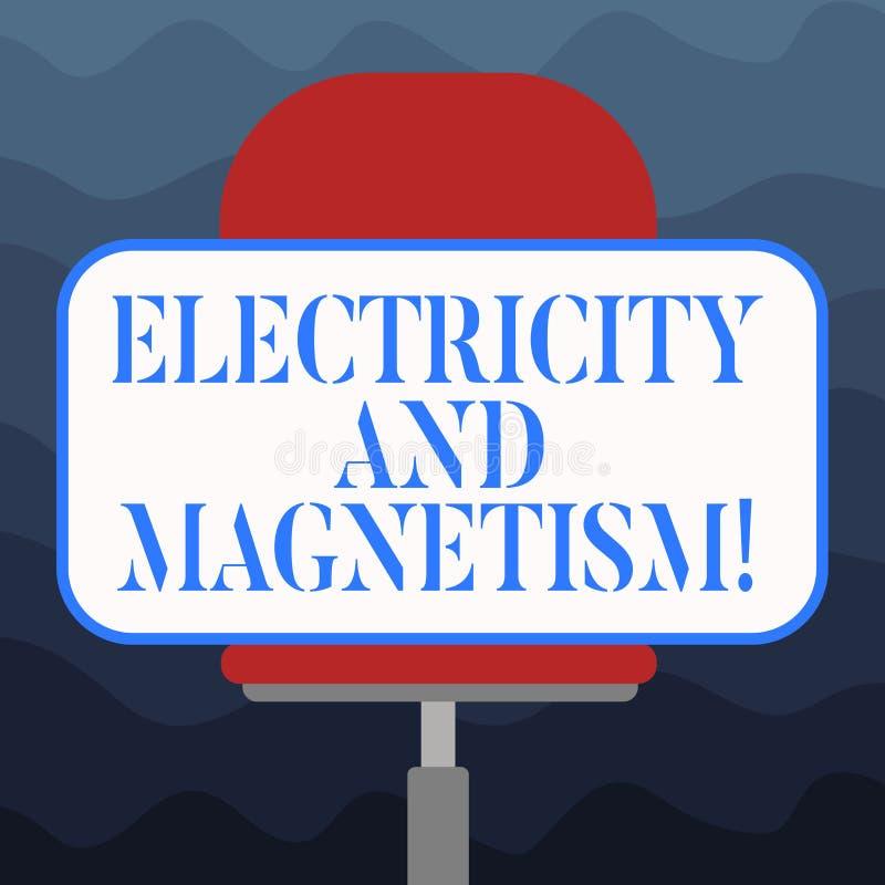 Inscription de la note montrant l'électricité et le magnétisme La présentation de photo d'affaires incarne un blanc à un noyau de illustration de vecteur