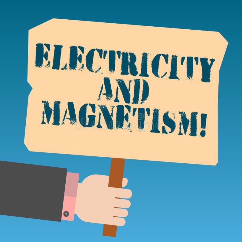 Inscription de la note montrant l'électricité et le magnétisme La présentation de photo d'affaires incarne une analyse à un noyau illustration stock