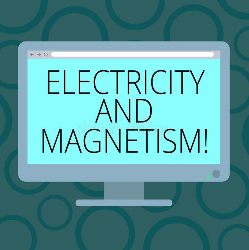 Inscription de la note montrant l'électricité et le magnétisme La présentation de photo d'affaires incarne une force électromagné illustration libre de droits