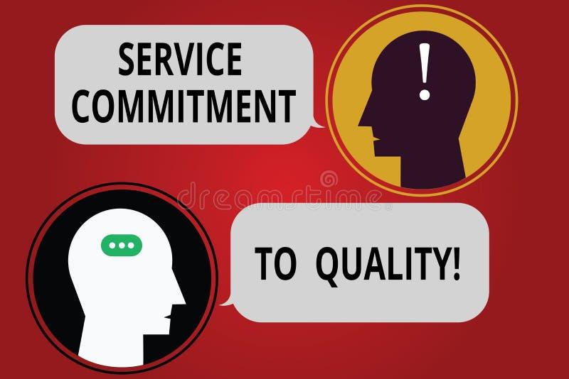 Inscription de la note montrant l'engagement de service à la qualité Photo d'affaires présentant l'excellente bonne aide de haute illustration stock