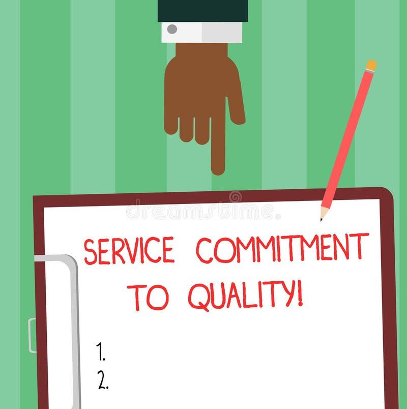 Inscription de la note montrant l'engagement de service à la qualité Photo d'affaires présentant l'excellente bonne analyse de ha illustration de vecteur