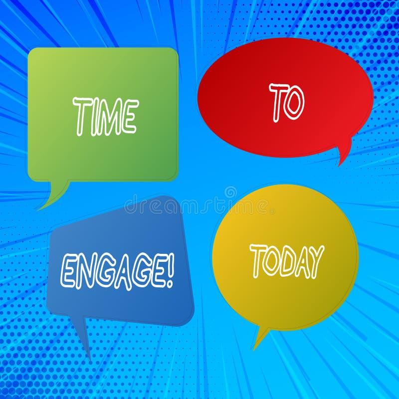 Inscription de la note montrant l'heure de s'engager Photo d'affaires présentant le bon moment pour pour obtenir un engagement de illustration de vecteur