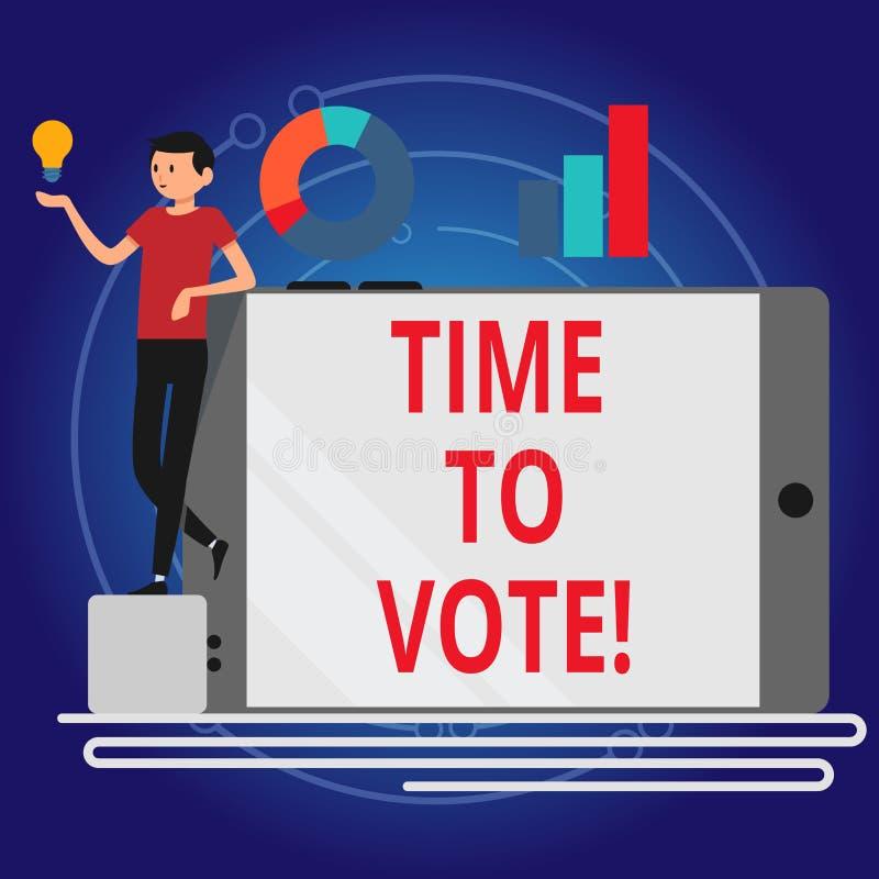Inscription de la note montrant l'heure de voter L'élection de présentation de photo d'affaires en avant choisissent entre quelqu illustration de vecteur