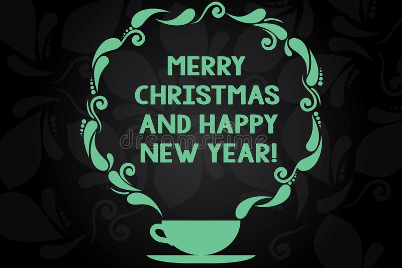 Inscription de la note montrant le Joyeux Noël et la bonne année Célébrations de présentation de salutations de saison des vacanc illustration stock