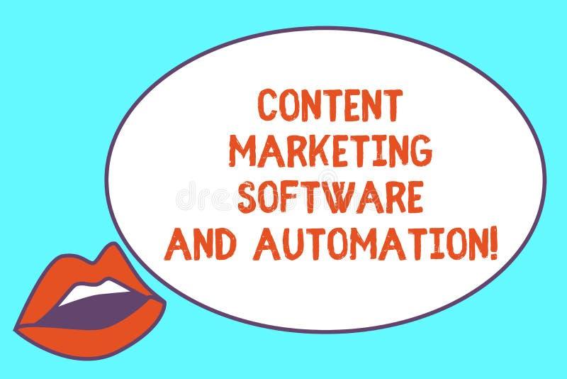 Inscription de la note montrant le logiciel et l'automation de commercialisation satisfaits Optimisation de présentation de moteu illustration stock
