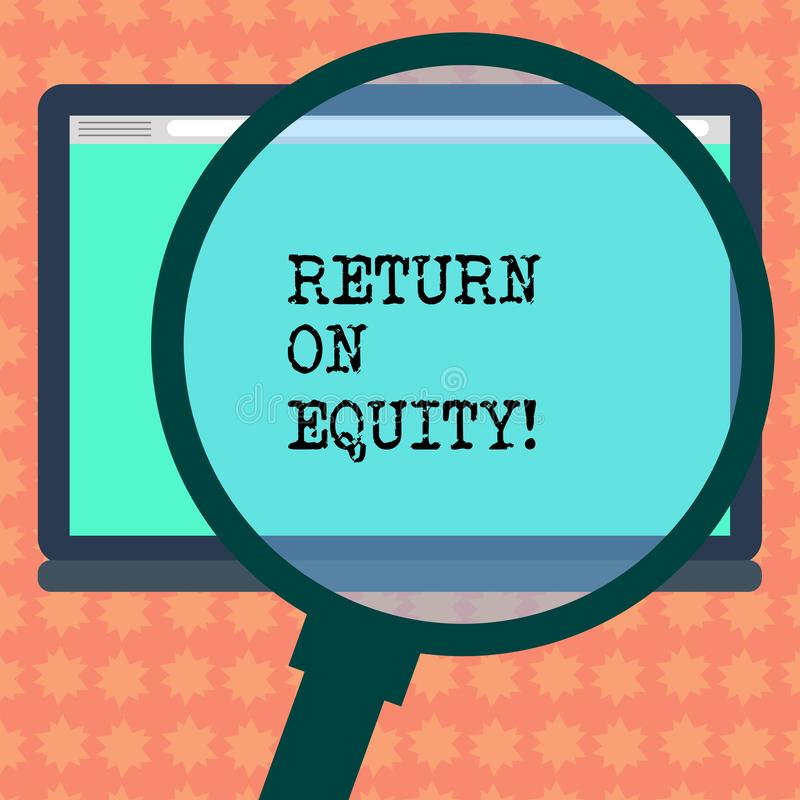 Inscription de la note montrant le retour sur des capitaux propres Affaires de pr?sentation de rentabilit? de photo d'affaires pa illustration de vecteur