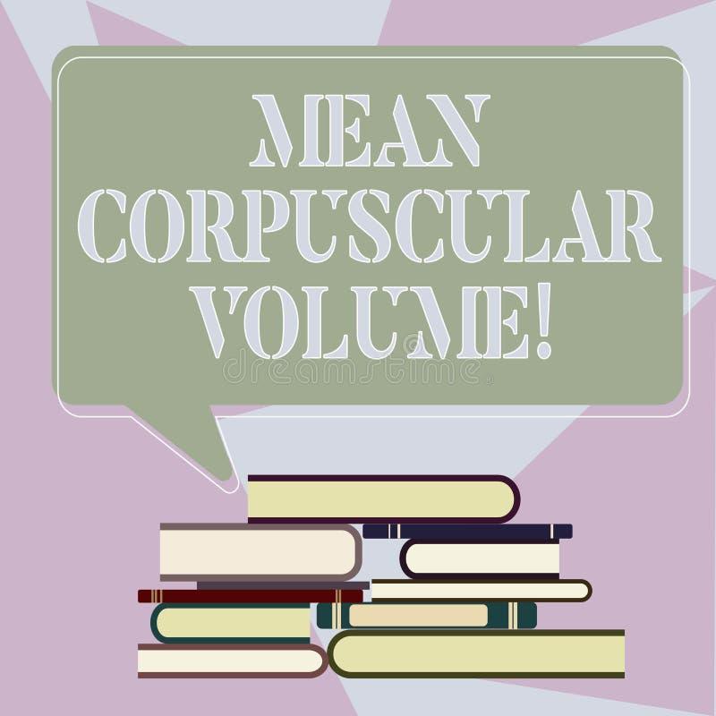 Inscription de la note montrant le volume corpusculaire moyen Volume moyen de présentation de photo d'affaires d'un corpuscule de illustration stock