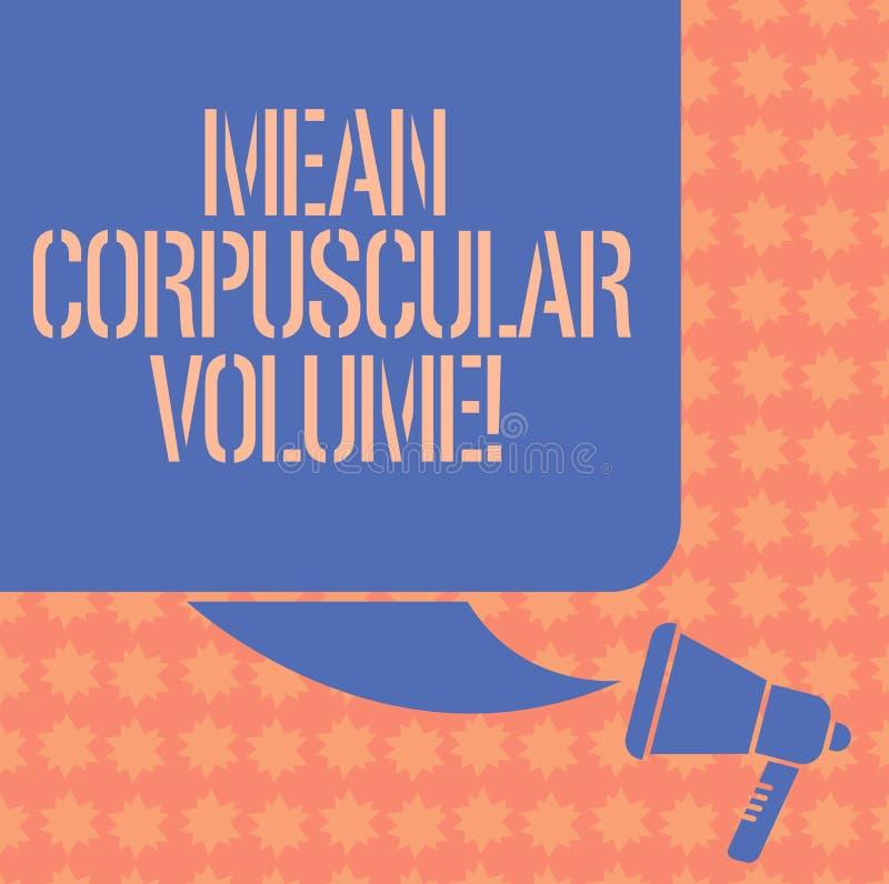 Inscription de la note montrant le volume corpusculaire moyen Volume moyen de présentation de photo d'affaires d'une couleur roug illustration stock