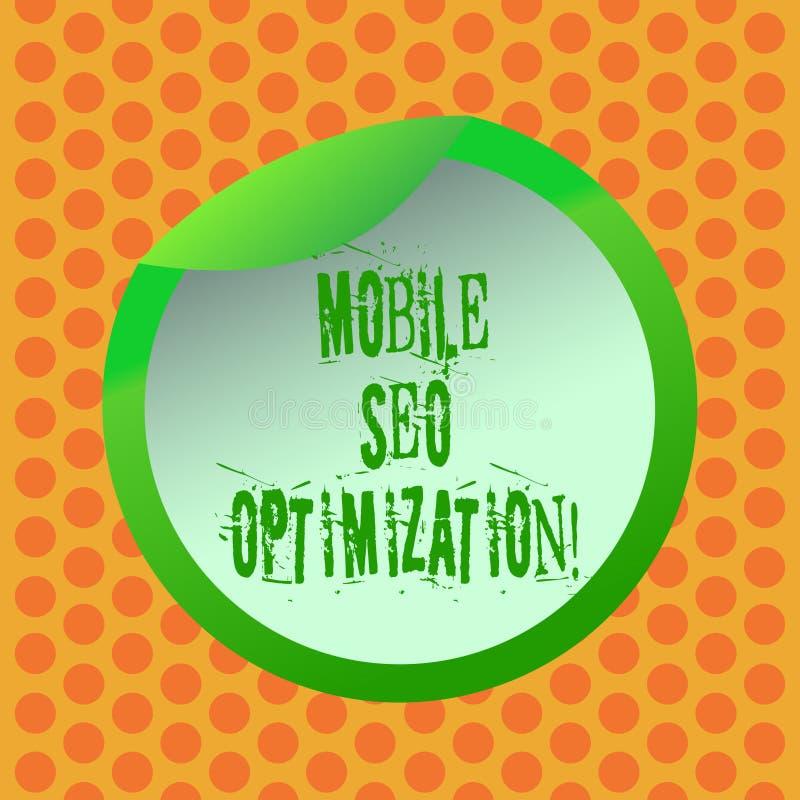 Inscription de la note montrant Seo Optimization mobile La présentation de photo d'affaires permet à un site Web de se ranger pou illustration stock