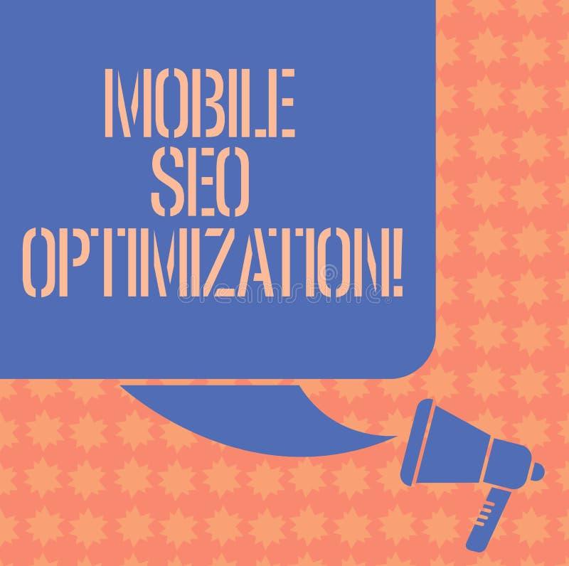 Inscription de la note montrant Seo Optimization mobile La présentation de photo d'affaires permet à un site Web de se ranger pou illustration libre de droits