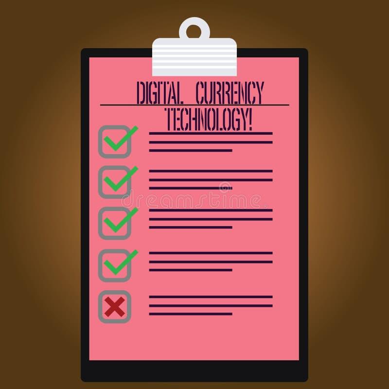 Inscription de la note montrant la technologie de devise de Digital Devise de présentation de photo d'affaires disponible dans nu illustration libre de droits