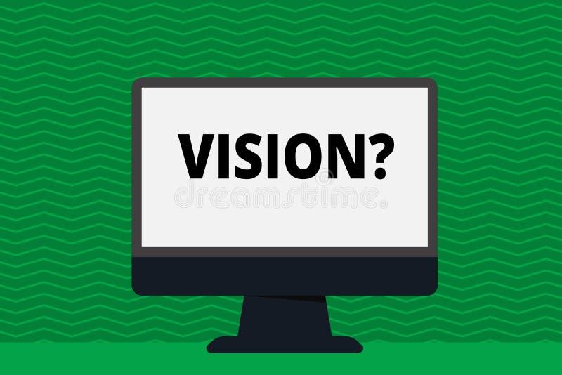 Inscription de la note montrant Visionquestion Engagement de présentation de compagnie de photo d'affaires décrivant le futur éta illustration stock