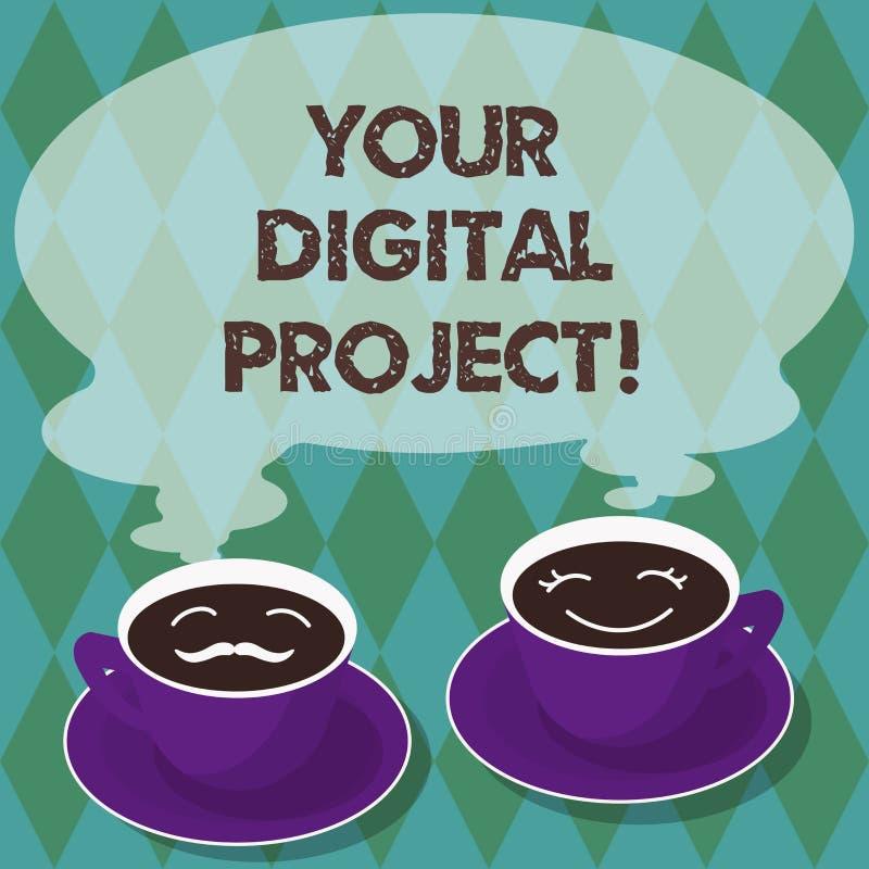 Inscription de la note montrant votre projet de Digital Production de présentation de photo d'affaires qui entre dans la création illustration stock