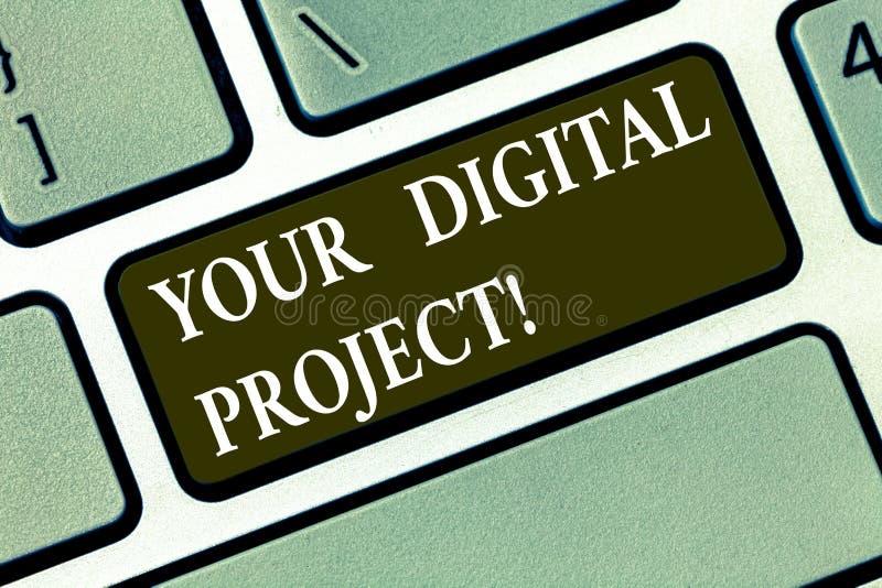 Inscription de la note montrant votre projet de Digital Production de présentation de photo d'affaires qui entre dans la création illustration de vecteur