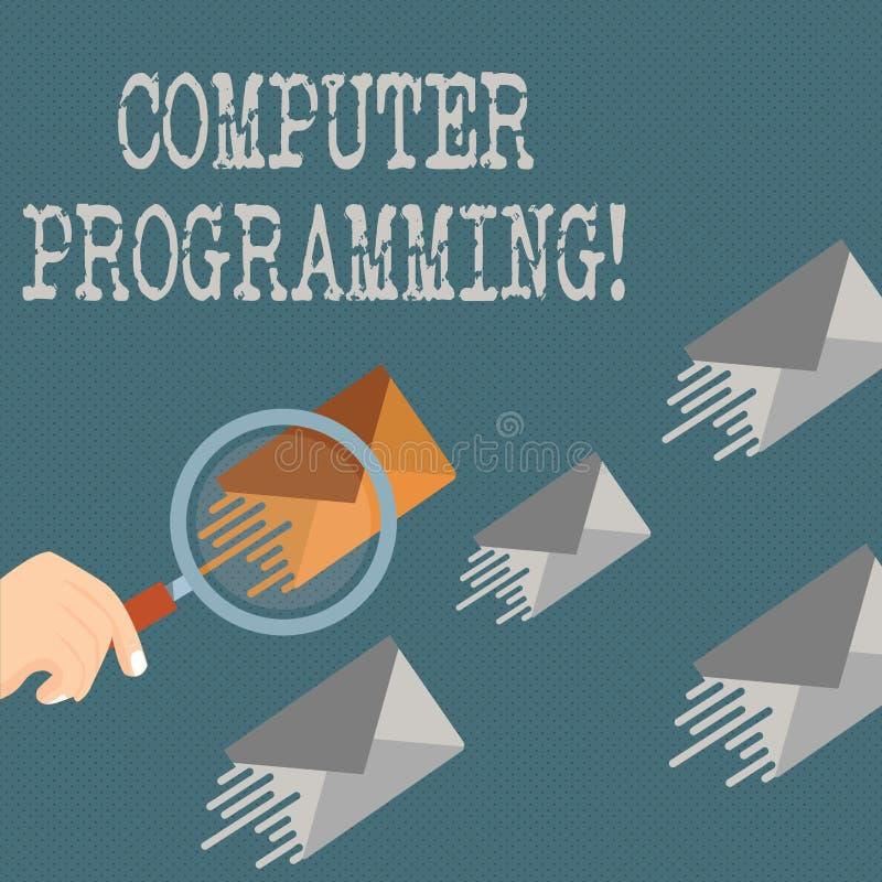 Inscription de la programmation par ordinateur d'apparence de note Processus de présentation de photo d'affaires qui instruit un illustration de vecteur