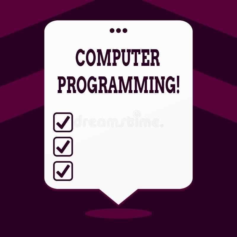 Inscription de la programmation par ordinateur d'apparence de note Processus de présentation de photo d'affaires qui instruit un illustration libre de droits